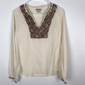 Lucky Brand Small Long Sleeve Sequin Shirt V Neck